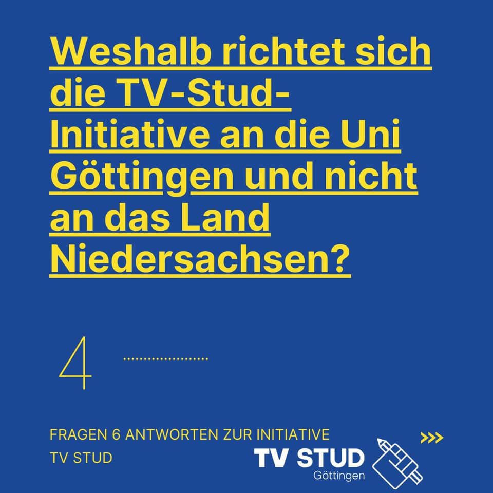 FAQ#4: Weshalb richtet sich die TV-Stud-Initiative an die Uni Göttingen und nicht an das Land Niedersachsen?